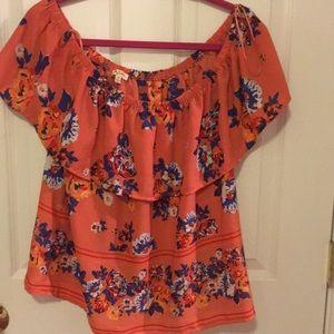 Orange & blue floral off the shoulder top